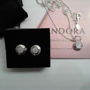 3 piece authentic Pandora Signature earring set